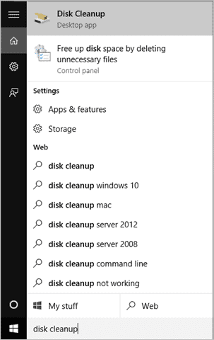 search-for-disk-cleanup-windows-10