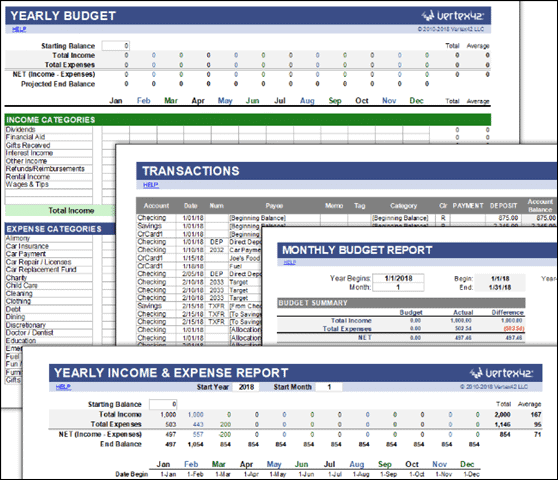 vertex42 money management budget spreadsheet excel template