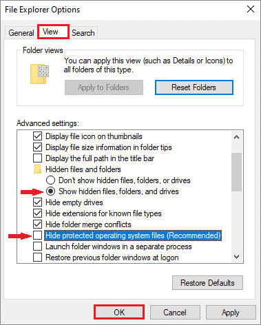 Edit options in the View tab