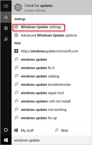 search-windows-update-settings