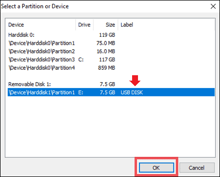 select usb device to encrypt a flash drive