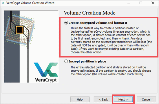 Create the encrypted volume in VeraCrypt