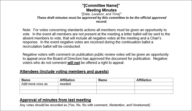 committee meeting minutes