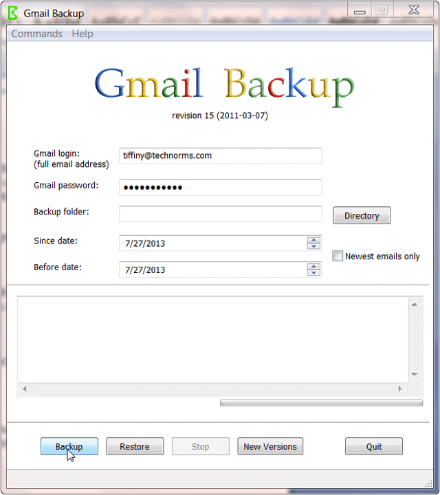 adding-gmail-login-information-in-gmail-backup