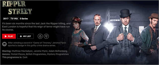 ripper street netflix bbc shows