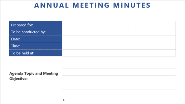 annual meeting minutes template