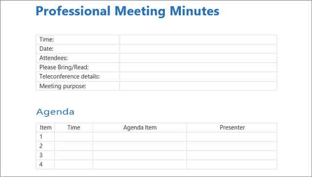 professional meeting minutes