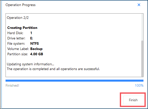 click on finish to create partition