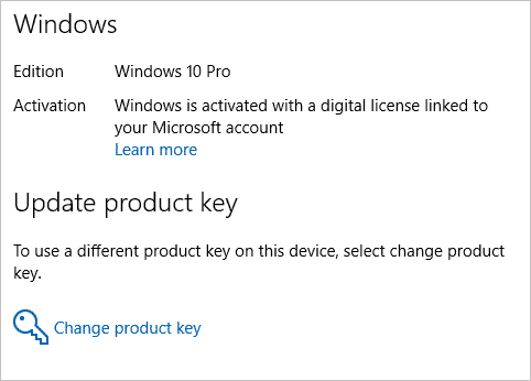 Digital license linked to Microsoft Account