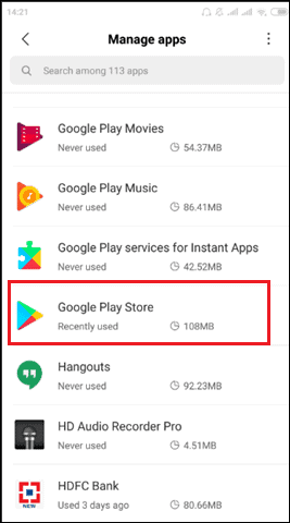 click on Google playstore app