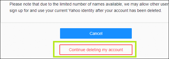 continue to delete yahoo account