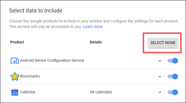 Click on Select None to deselect services for backup
