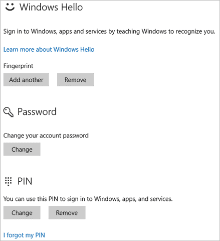 Windows Hello in PC settings