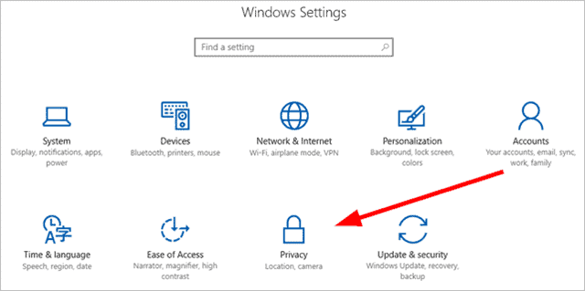 Windows Settings - Privacy
