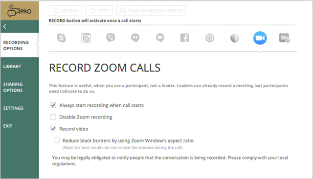 callnote record zoom meeting