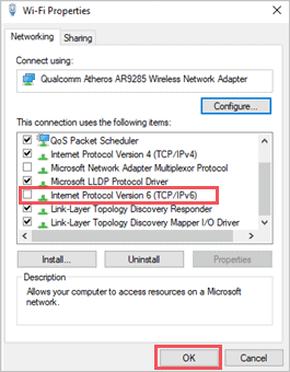 Disable IPv6 to fix no internet secured issue