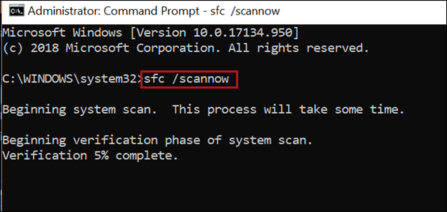 execute sfc scannow when file explorer not responding windows 10