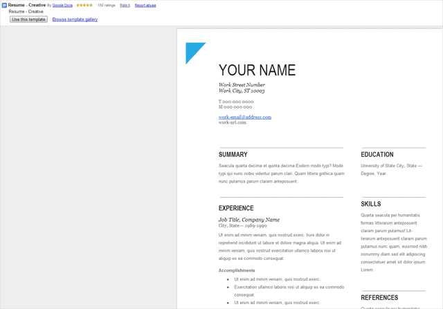 Full Preview Of Template  Google Resume Builder