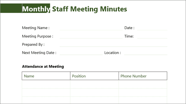 monthly staff meeting template