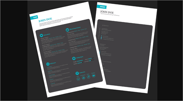 Free Black adobe indesign resume template