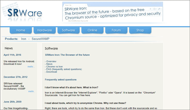 4 SRWare iron anonymous web browser