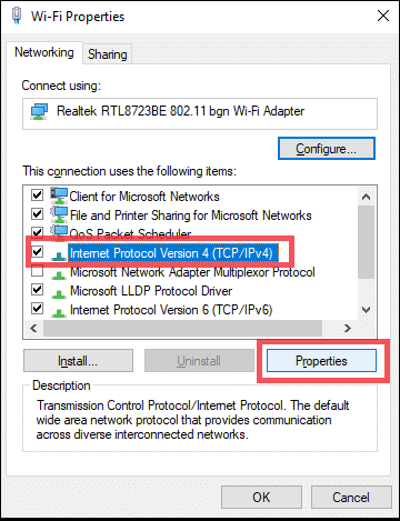 change ipv4 settings no internet connection