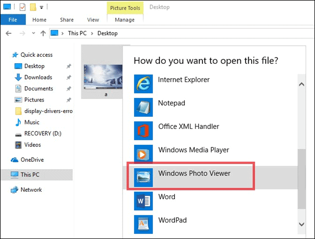 change to windows 10 photo viewer
