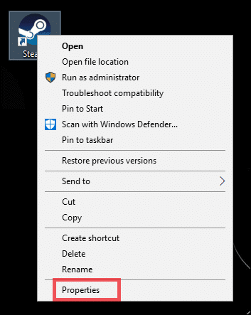Go to the Steam shortcut you created