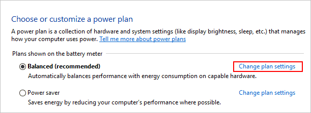 Customize power plan in Windows 10