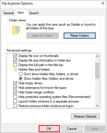 Click OK and close the dialog box to find desktop.ini