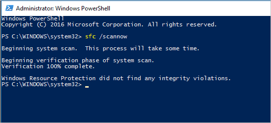 No issues with SFC scan in Windows 10