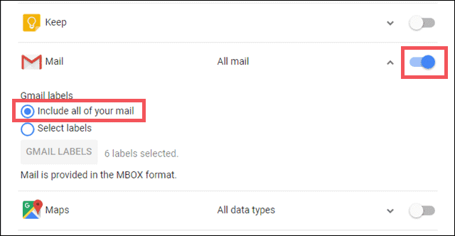 select gmail labels