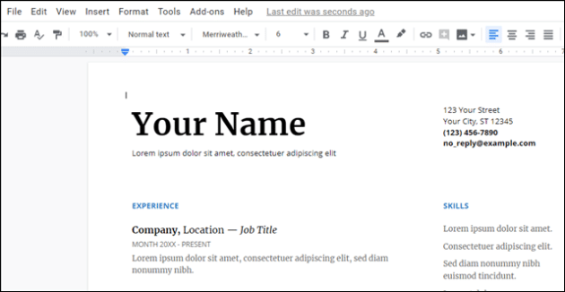 Serif Resume Template A Popular Google Docs
