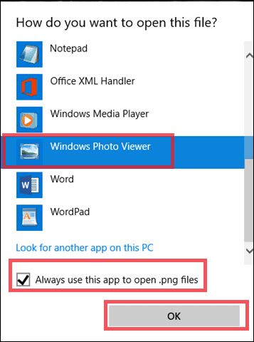 select windows photo viewer