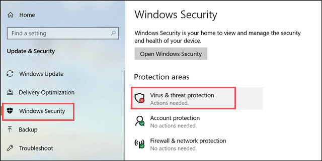 Open Virus and threat protection