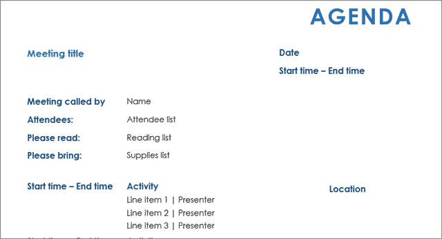 all day meeting agenda template
