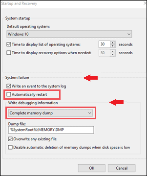 changes in memory dumb settings your pc ran into a problem and needs to restart were just collecting some error info windows 10