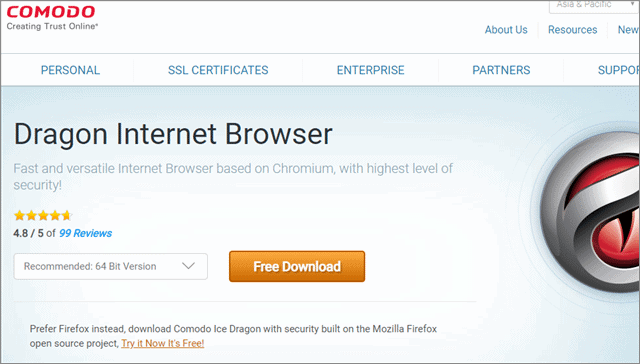 comodo dragon anonymous web browser