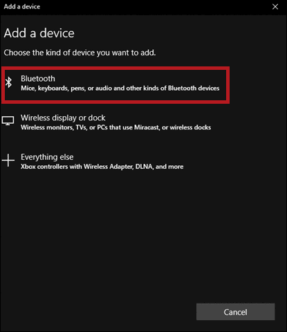 search to pair a device to enable bluetooth in windows 10