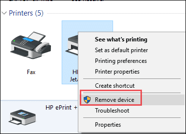 remove printer windows 10 active directory