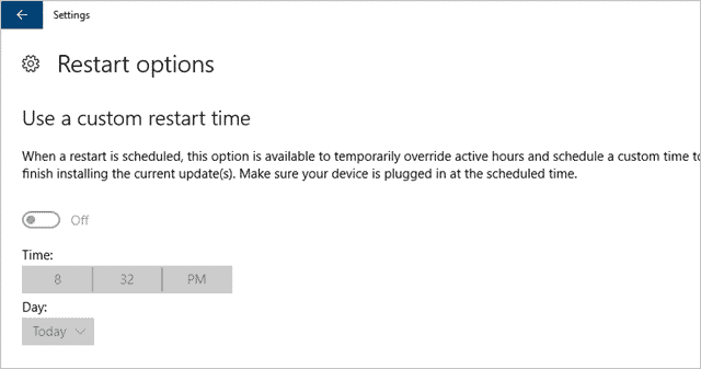 Restart options for Windows Update