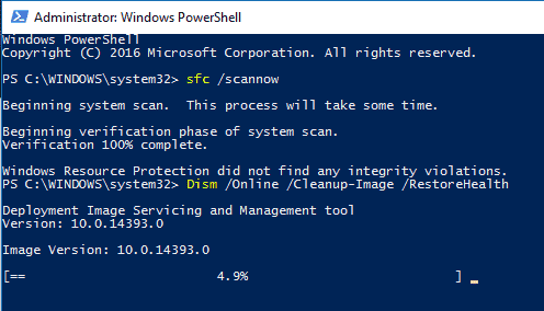 Running DISM with PowerShell in Windows 10 - fix corrupted files