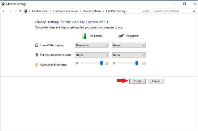 set the limit for power options speed up windows 10