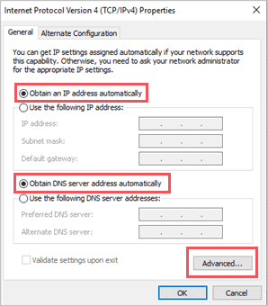 Click on Advanced when there is no internet access