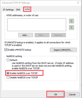 Enable NetBIOS over TCP/IP to fix no internet secured windows 10