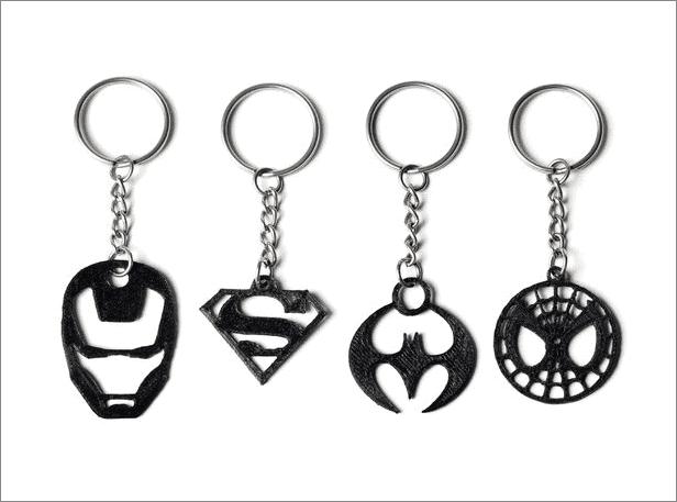 Superhero Keychains cool things to 3d print