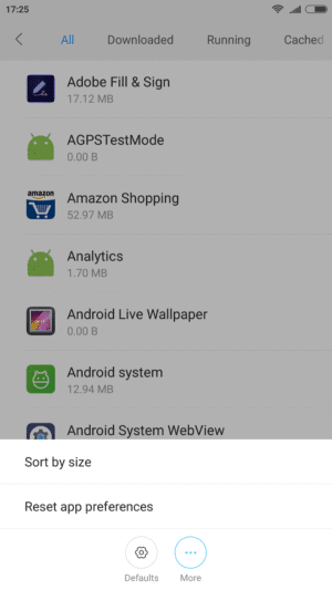 clear cache when android storage space running out