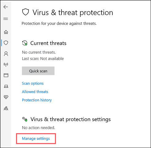manage settings to turn windows defender on
