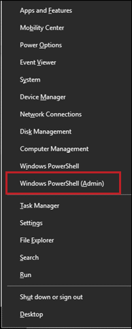 Open Windows PowerShell as Admin