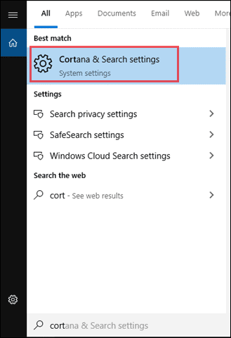 Search for Cortana & Search settings